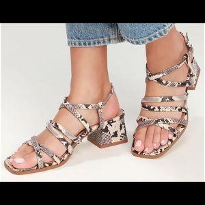Snake print strappy block heel sandals size 7